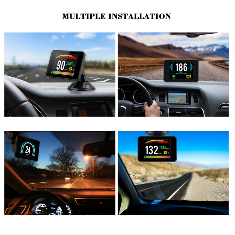 Image 5 - GEYIREN P16 head up display hud obd2 temperature car KM/h MPH Turbo Boost Pressure speed projector on the windshield for car HUD-in Head-up Display from Automobiles & Motorcycles