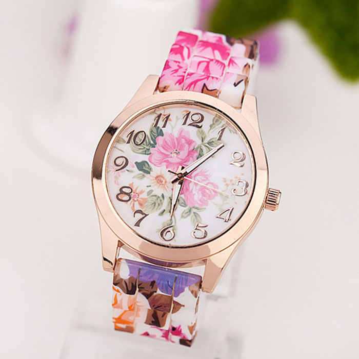 Women Girl Watch Silicone Printed Flower Causal Quartz WristWatches Silicone Printed Flower Quartz WristWatches Female Gift