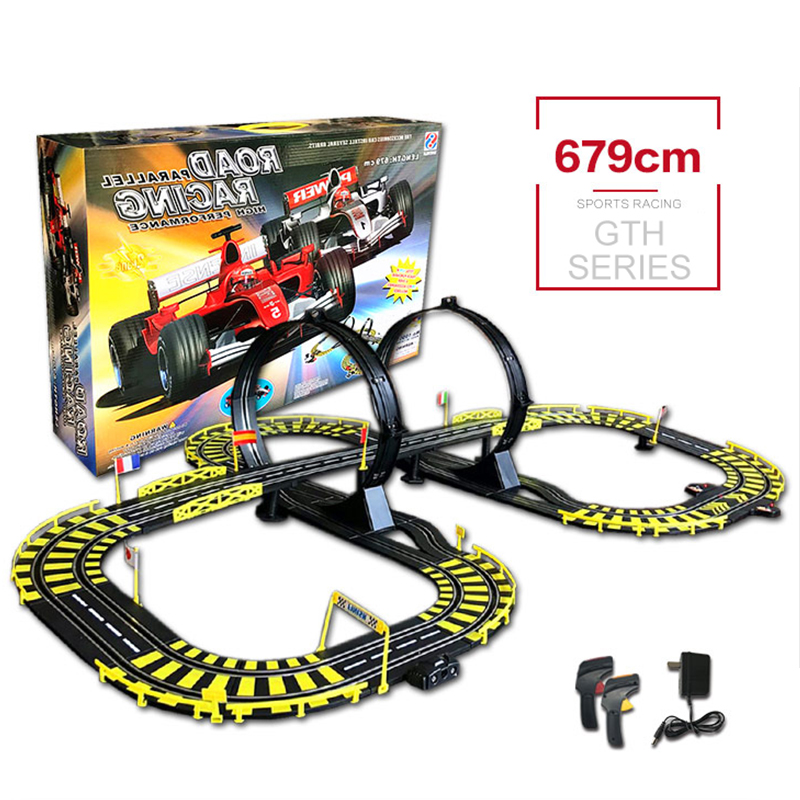 Genuine RC Track 1:43 Car Electric Wired Remote Racing Toys Educational DIY Building Toy Creative Track Competition Family Game