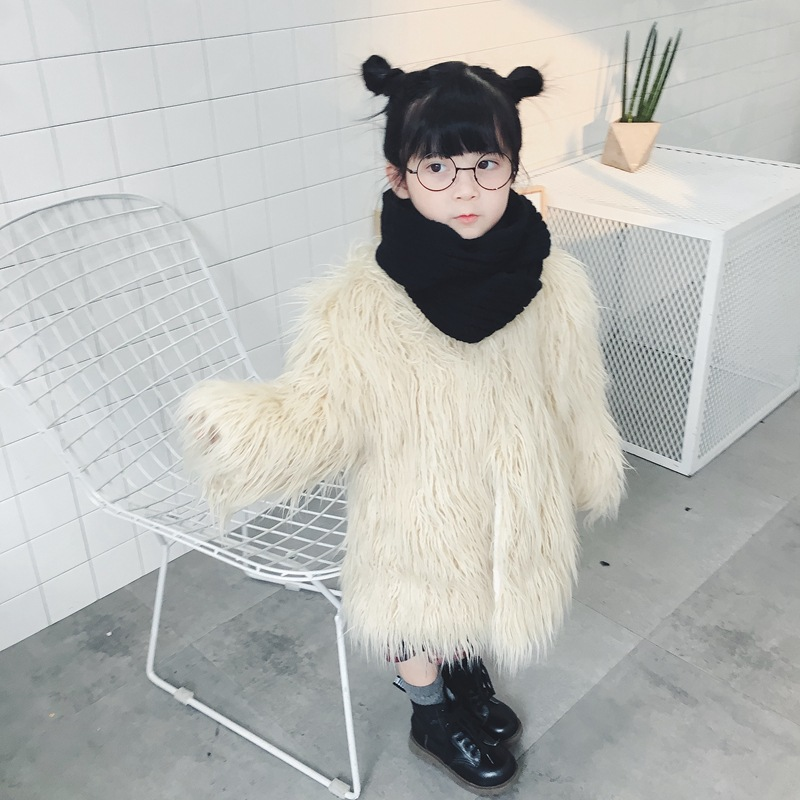 Girls winter fashion coat kids girls faux fur thick warm outfit coat baby velvet girl clothes children long sleeve clothing 1-7T 2017 winter new clothes to overcome the coat of women in the long reed rabbit hair fur fur coat fox raccoon fur collar