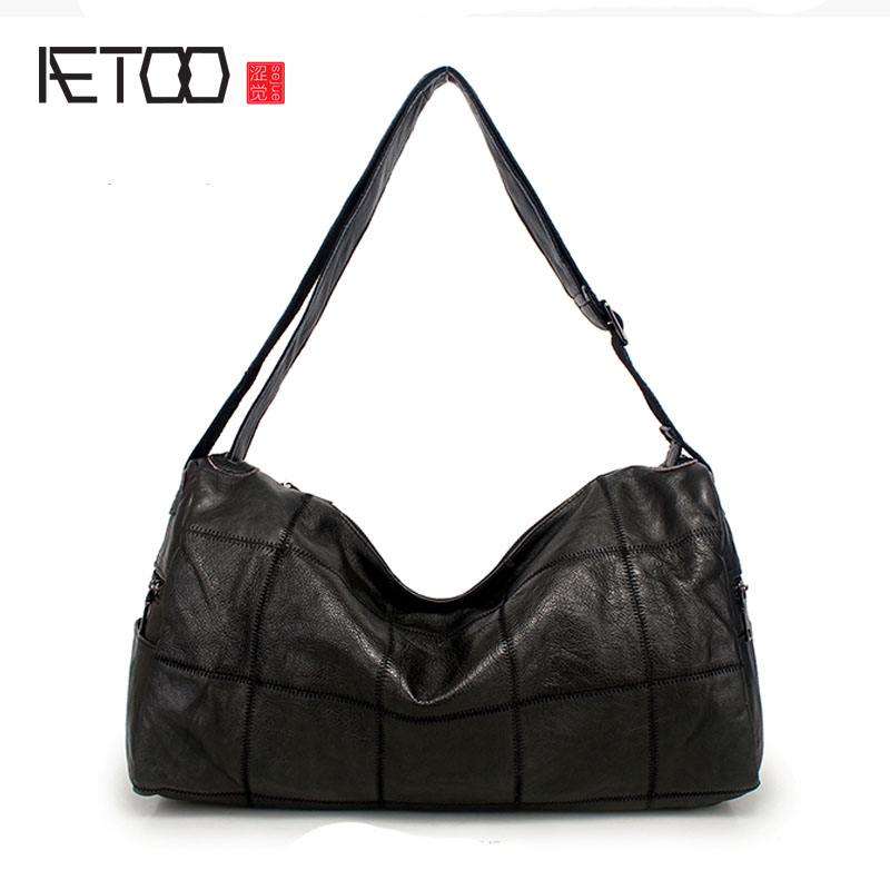 AETOO Ladies bag classic European and American leather bag head layer of leather shoulder bag large capacity oblique bag female qiaobao 2018 new korean version of the first layer of women s leather packet messenger bag female shoulder diagonal cross bag