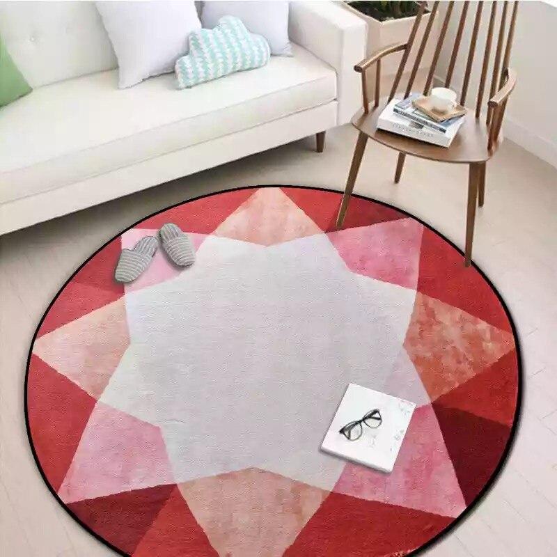 Круглые комбинированные ковры для спальни, мягкие фланелевые ковры для гостиной, Обюссон, ковры с геометрическим дизайном, европейские цветные круглые ковры - Цвет: ZZM3200