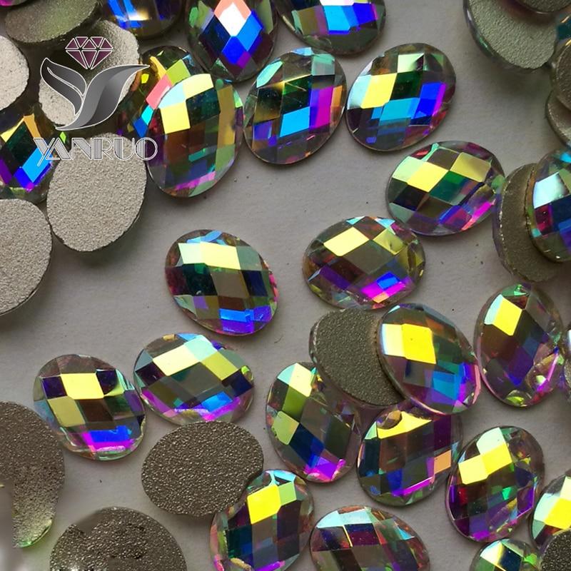Crystal Glitter 4 * 6mm, 6 * 8mm AB Crystal Flat Flight Back Nail Art - Մանիկյուր - Լուսանկար 1