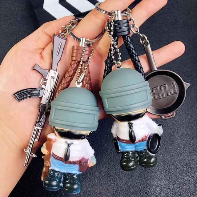 Game PUBG Playerunknown's Battlegrounds Cosplay Accessories Keychain Cartoon Warrior Level 3 Helmet Weapons Armor Metal key ring
