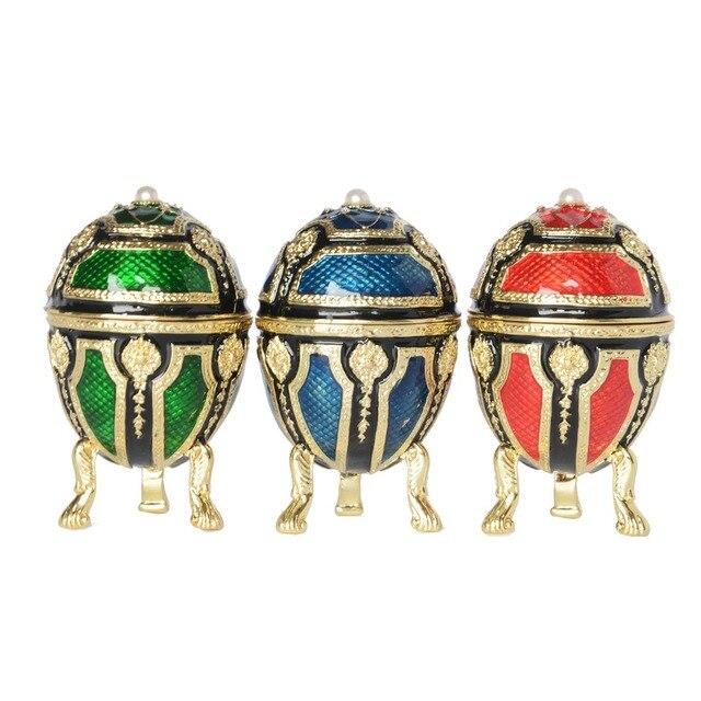 Russian craft faberge rhinestone Royal fa bejeweled crystal trinket box  metal jewelry box Christmas birthday gifts free shipping 622df410b9a5