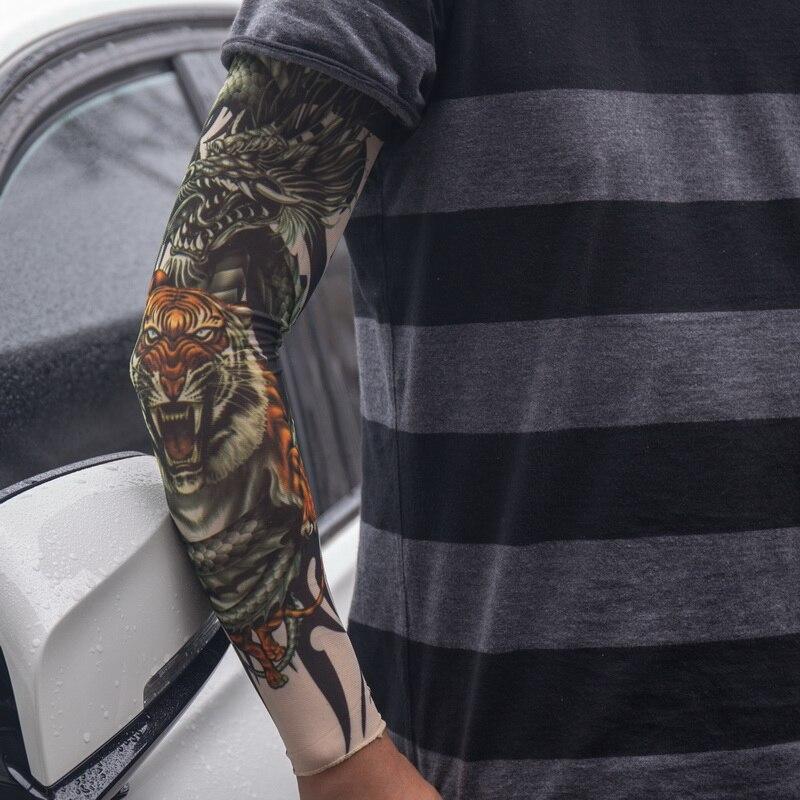 Us 11 30 Offarm Warmer Skórki Proteive Nylon Rozciągliwy Fałszywy Tymczasowy Rękawy Tatuaże Wzory Ciała Arm Pończochy Tatuaże Fajne Mężczyźni