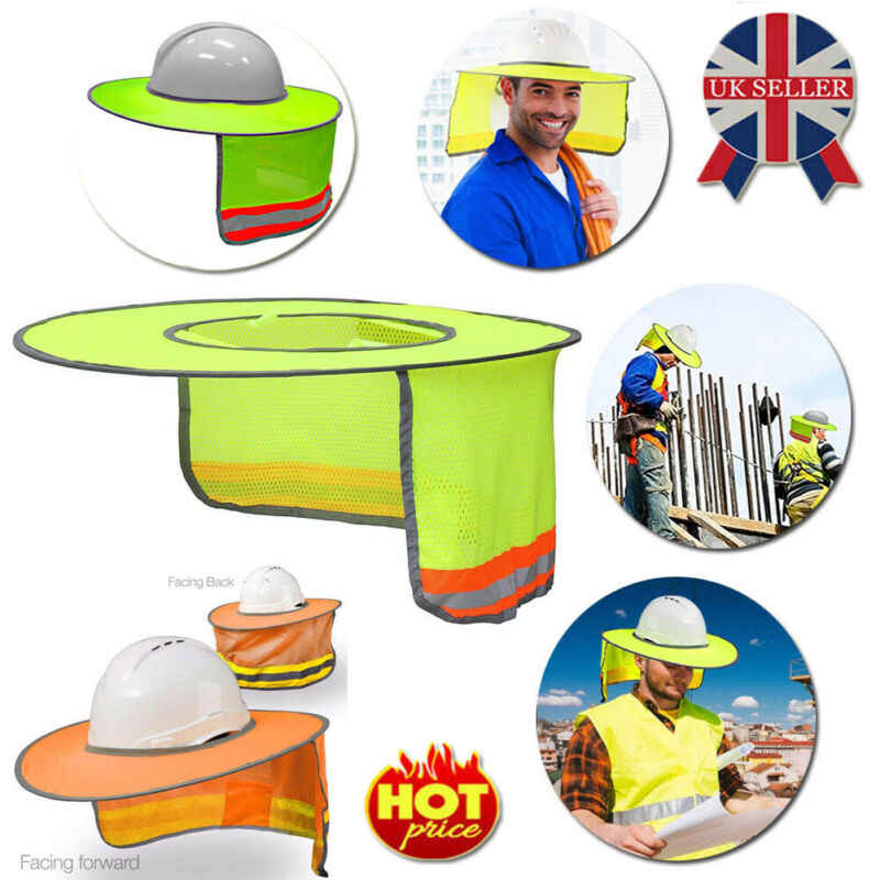 Sun Shade Reflective Visor Face Neck Shield Protection Full Brim For Safety Construction Hard Hat Workers Cover Helmet