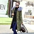2016 Novo Inverno Quente Jaqueta de Algodão Acolchoado Mulheres De Longo Casaco Com Capuz De Pele Parka Senhoras Outwear