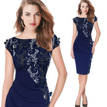 Women's Elegant Embroidered Evening Sheath Dress