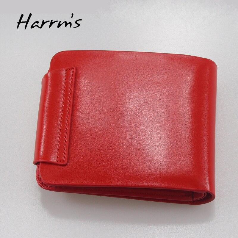 Harrm's Marka Klasik Moda hakiki deri kadın cüzdan kısa kırmızı - Cüzdanlar - Fotoğraf 3