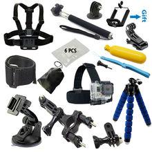 Gopro accessories Set Monopod tripod Chest Belt Head Mount Strap Go pro hero4 3 Black Edition SJCAM SJ4000 Xiaoyi Eken H8 H9 H9R
