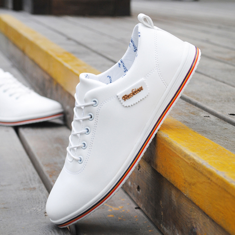 Spring Summer Men Shoes Breathable Men's Casual Shoes Pu Leather Flat Shoes Lace-Up Man Shoes Comfortable Outdoor White Sneakers