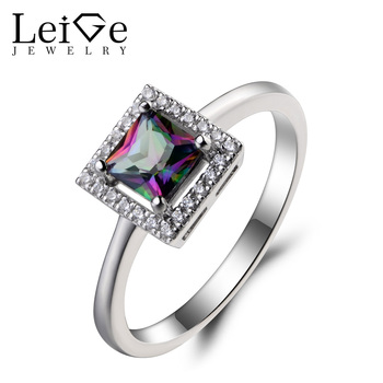 Leige Jewelry Mystic Topaz Ring Cocktail Party Ring Princess Cut Gems Rainbow Gemstone 925 Sterling Silver Ring Gifts for Her