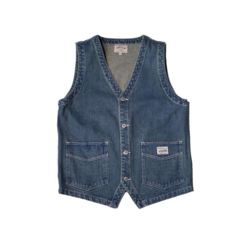 Image 2 - Japan Style Mens Spring  Vintage Denim  Vest  Multi Pocket Cargo Vests  Single Breasted Jeans Vests Jacket Waistcoat  Ds50302-in Vests & Waistcoats from Men's Clothing