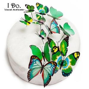 Image 4 - 送料無料12ピースpvc蝶ウエディングケーキトッパー/ウェディングケーキスタンド/ウェディングデコレーション/ケーキ飾る用品