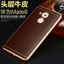Nuevo para huawei mate8 de genuina piel de vaca cuero de la contraportada del teléfono + metal de la aleación de aluminio de protección fronteriza case para huawei mate 8