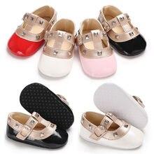 Обувь принцессы с бантом для новорожденных девочек; кожаная однотонная детская обувь на плоской подошве с пряжкой и ремешком; 4 цвета