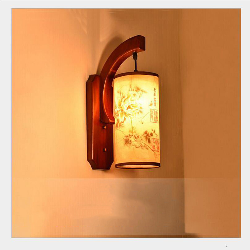 Retro Chinese wall lamp wall sconce antique Wood Parchme stair aisle corridor bedroom living room cafe lamp,E27 wall light bra the new chinese iron wall lamp bedside lamp wall lamp rectangular chinese bedroom living room antique hotel wall light