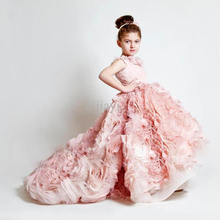 Pink Girl Pageant Dress Ball Gown Straps Angle Children Wedding Dress For Girls Custom Made Birthday Party Girl Dress CH-1039 2018 pink flower girls dresses spaghetti straps ball gown ruffles organza pageant dress for girls long girl dresses for wedding