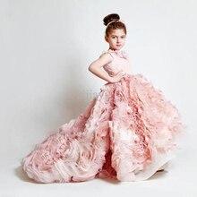 Pink Girl Pageant Dress Ball Gown Straps Angle Children Wedding Dress For Girls Custom Made Birthday Party Girl Dress CH-1039 цена в Москве и Питере