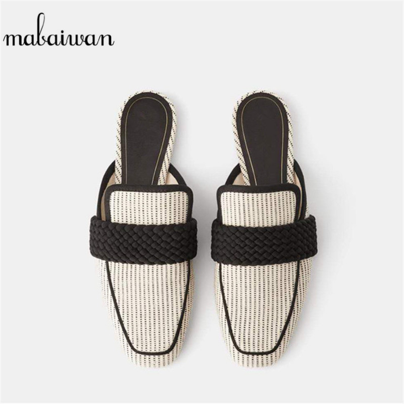 Mabaiwan New Designer Square Toe Slippers Women Sandals Slip On Weaving Mules Casual Shoes Woman Outdoor Moccasins Loafer Flats