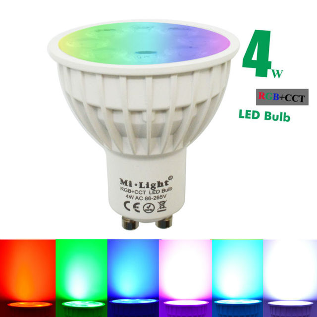 4W Mi Light LED Bulb Lamp Light Dimmable GU10 220V / MR16 DC12V RGB + Warm White + White Spotlight Indoor Decoration