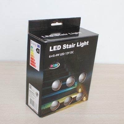6 Pack Color Box Package RGB Stair Lights LED Step Light Set: 30pcs  Lightsu00265pcs