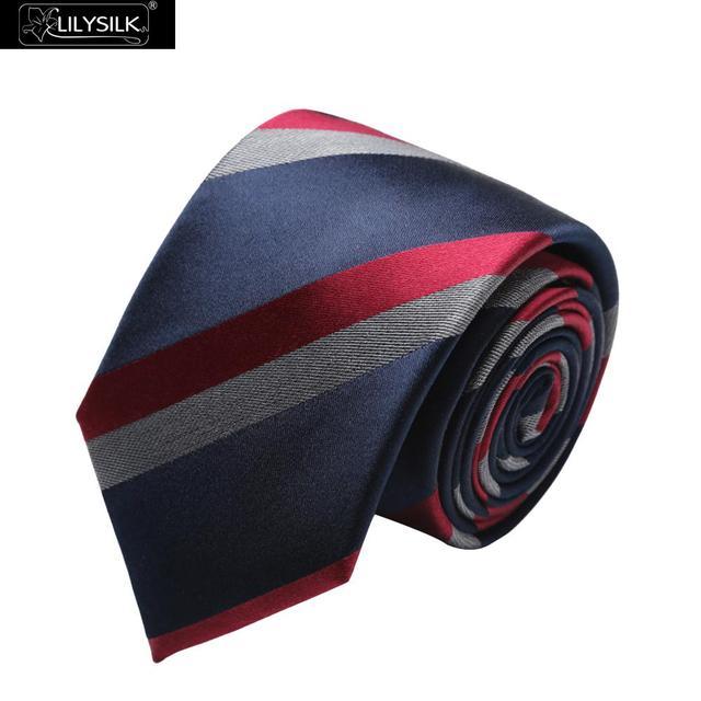 Lilysilk Real Silk Luxury Brand Ties & Handkerchiefs Men Navy Blue Stripped Tie Business Male 2016 Fashion Wedding Gift Formal