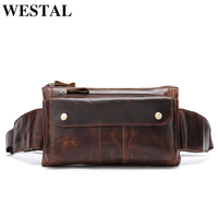 WESTAL Genuine Leather Waist Packs Fanny Pack Belt Bag male Phone Pouch Bags travel chest bags Male messenger Bag men Leather
