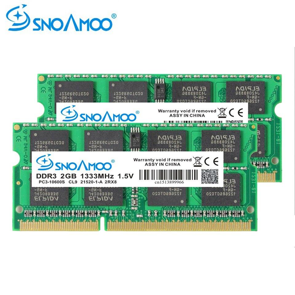 SNOAMOO Notebook Memory DDR3 2GB 4GB 1333MHz 1600MHz PC3 10600S 1.5V SO DIMM RAMs For Laptop Memoria Ram Notebook Memory