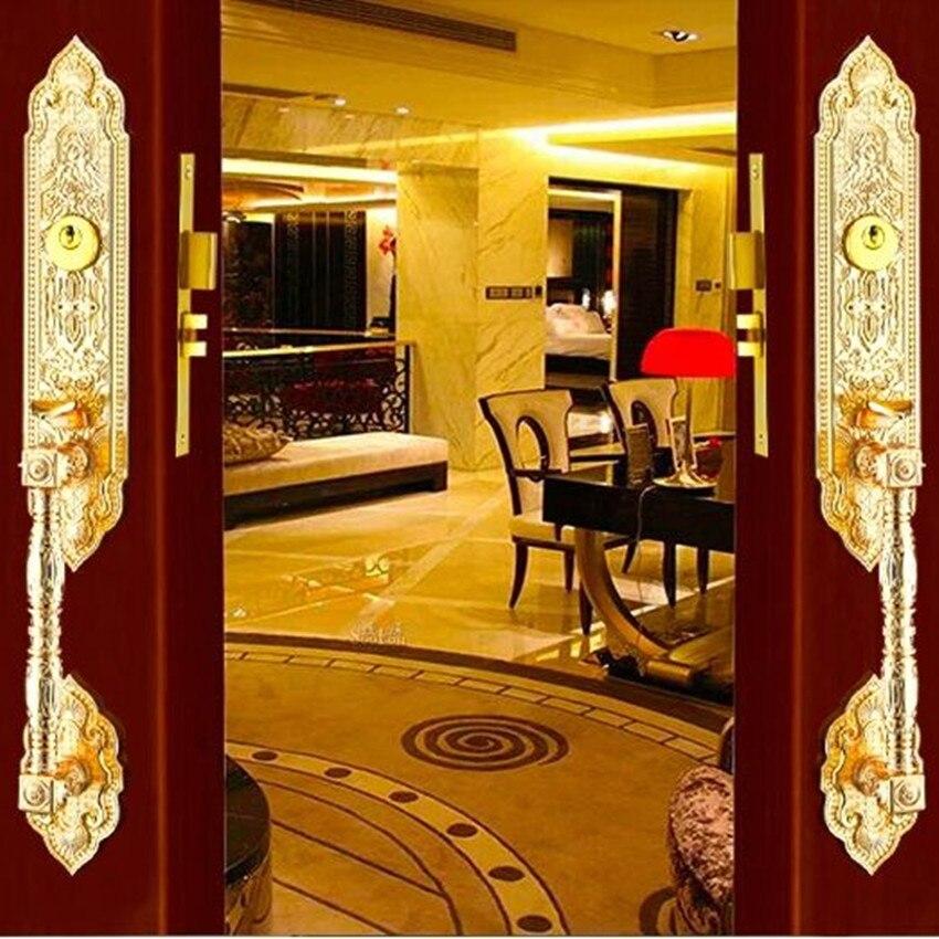 estilo europeo retro de oro de lujo puerta de madera cerradura de la puerta villa de