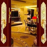 European style retro luxury gold door wooden door lock villa antique copper double open door copper lock core lock bronze lock