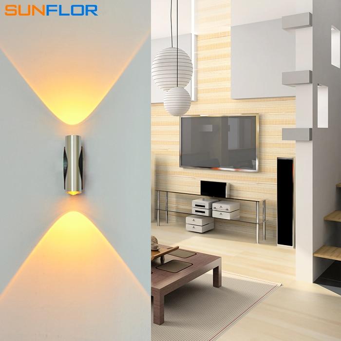 Ներքին LED LED Sconce 2W վեր և վար լույսի LED պատի լամպի մակերևույթի տեղադրում Ալյումինե պատի թեթև գունագեղ լուսավորություն