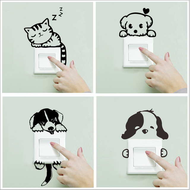 XXYYZZ DIY funny Cute Sleeping Cat Dog Switch Stickers Wall Stickers Decal Home Decoration Bedroom Living Room Parlor Decoration 1