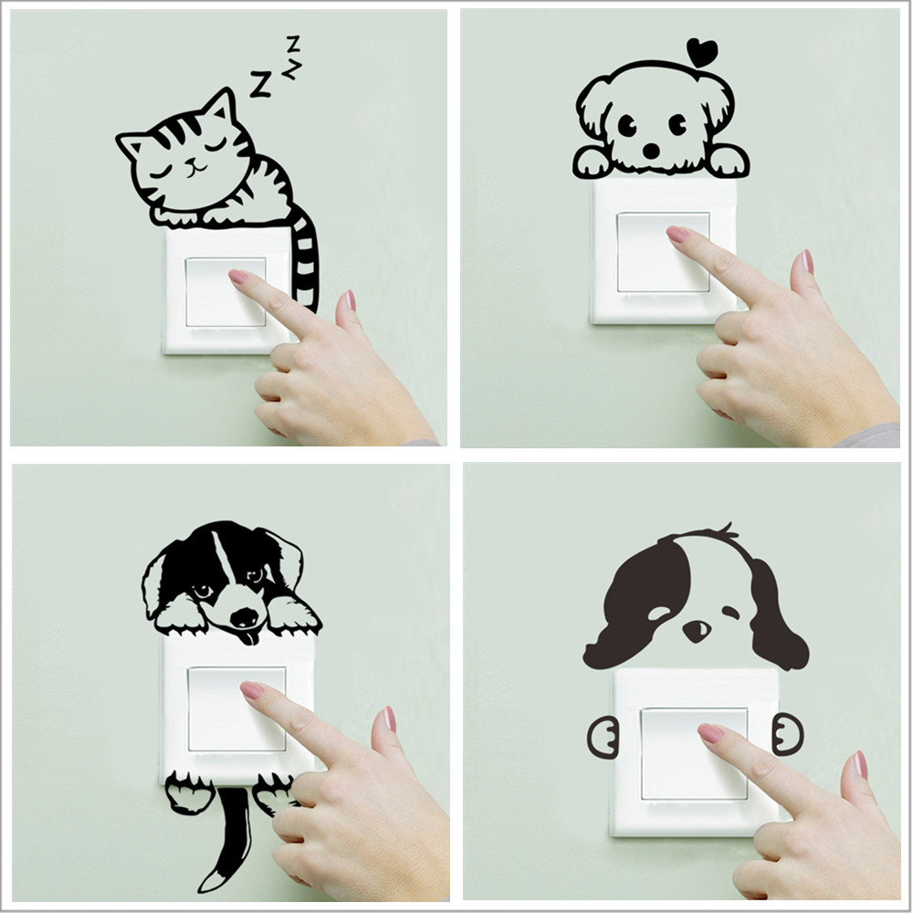 Decal Stickers Parlor-Decoration Dog-Switch Bedroom Living-Room Cute Cat Wall Funny DIY title=