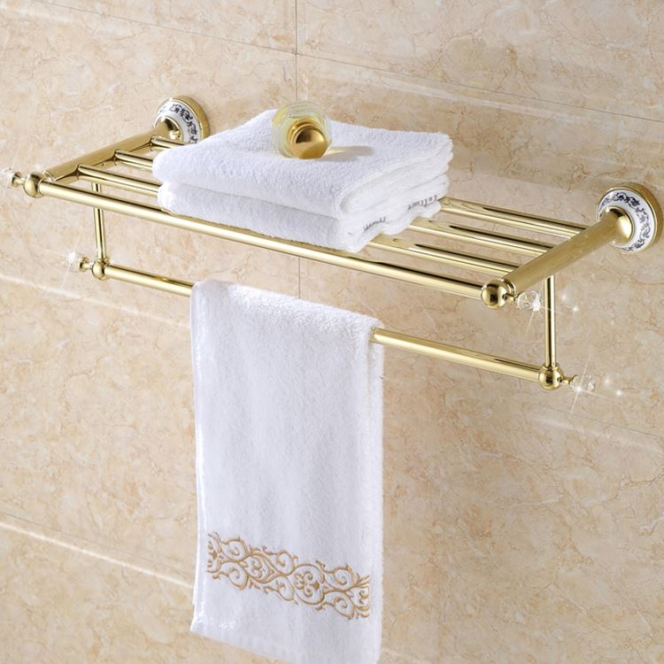 Antiqued Gold Towel Rack Crystal With Ceramic Base Bathroom Hardware Pendant Set European 2 Layer Towel Rack 60 Cm with Screws q612b base plate slot rack