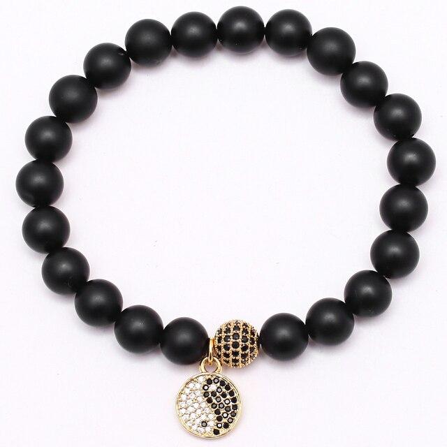 Mcllroy Buddha Bangle New Men Jewelry Bracelet Micro Pave Cz Ball Yin Yang Charm 8 Mm