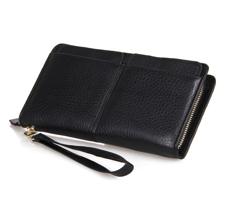 Augus First Layer Cow Leather Long Wallet Clutch with Detachable Card Package Wristlet Handbags Male Casual Clutch Bag 8069A augus casual soild male purse credit card package case clutch bag simple style wristlet handbags 8071a 2