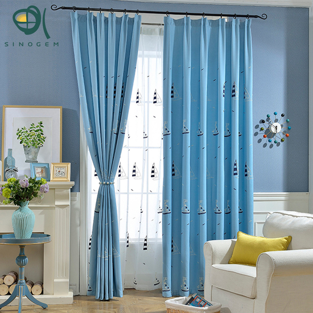 Sinogem Sailboat Contemporary Style Window Curtain Living Room Boys