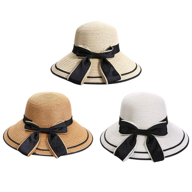 2018 New Fashion Women Sun Hat Big Black Bow Summer Hats Straw Block Wide Brim Beach Hat Beach Sun Hats Caps for Female Girls