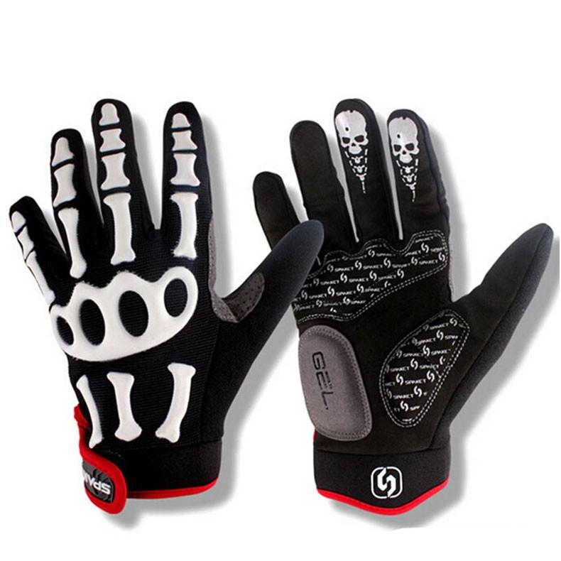 New Cycling Gloves Brand Silicone GEL Full Finger Gloves Skull Bike Bicycle Men Anti Slip Sweat for MTB Riding Green White Black (2)