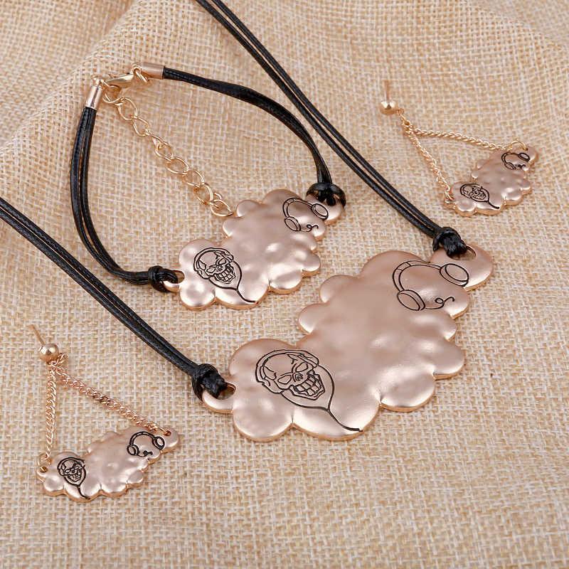 Moda srebrny różowe złoto wypełnione kostium oświadczenie ślubna zestaw rzeźba zestawy biżuterii z Rope Chain naszyjnik bransoletka zestaw kolczyków
