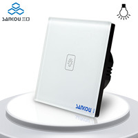 SANKOU EU Standard Remote Dimmer Switches 220V White Crystal Glass Panel Wall Light Touch Dimmer Switch