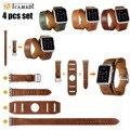 ICARER Original 4 PCS Set Extra Longo Genuíno Relógio de Couro bandas cinta para apple watch iwatch tour duplo cuff bracelet cintos