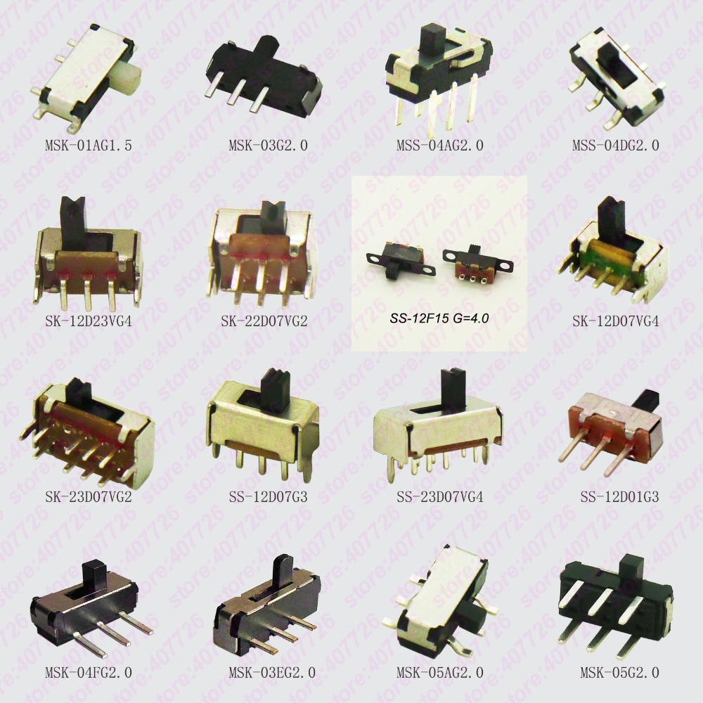20PCS Mini Slide Switch On-OFF Micro Toggle Switch 1P2T H=1.5/2/4MM Miniature Horizontal Slide Switch SMD/DIP