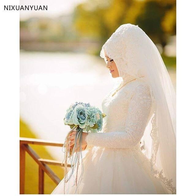 Vestido De Noiva Robe De Mariage Arabic Muslim Luxury Beautiful 80cm Long Trail Long Sleeve Hijab Wedding Dress with Veil 2020