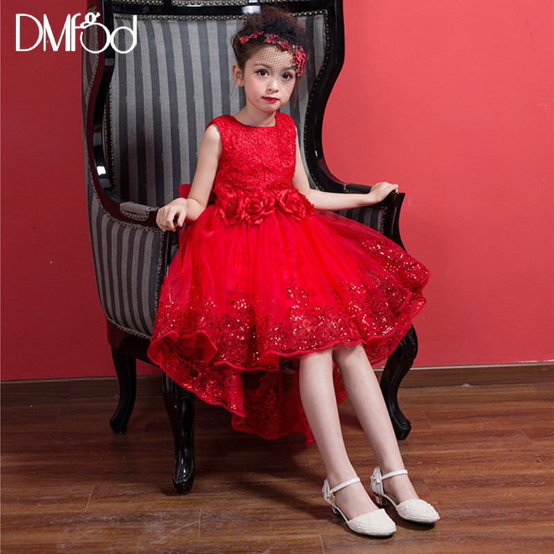 Hot Fashion Girls Dresses 2018 New Brand Lace Flower Princess Girls Party Dress For Wedding Kids Clothes Summer Dress Red 9166 flower girl dresses for kids new 2017 girls summer dress for party and wedding teenagers sundress fancy clothes princess cotton