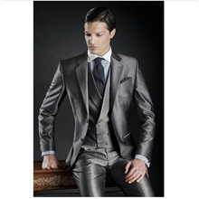 Fashion Two Button terno masculino Grey Groom mens suit Tuxedos costume homme Wedding Prom Suits for men (Jacket+Pants+Vest)