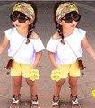 2015 Del Otoño Del Verano Nuevas Muchachas de la Llegada ropa de Moda 4 Diseños sistemas de la ropa trajes para niños 1 Unidades embroma la ropa al por menor envío nave