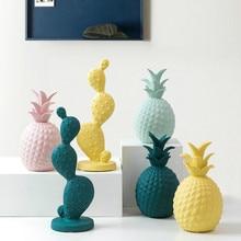 Green Ceramic pineapple ornaments Figurines Ceramic fruit model miniatures decoration Crafts Christmas home office decor Gifts недорого